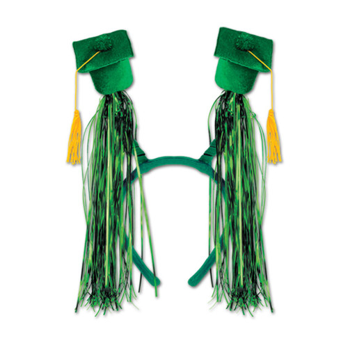 Club Pack of 12 Green Graduation Cap with Fringe Bopper Headband Party Favors - 31564145