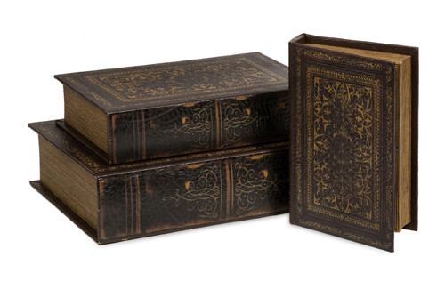 Set of 3 Decorative Antique Old World Table Top Books - 6935897