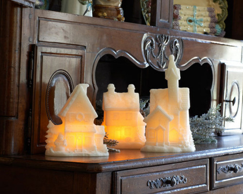 Set of 3 Winter Frost Wax LED Lighted Glittered Christmas Village Church & Homes - 30852025