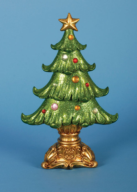 """Pack of 2 Ornate Glittered Table Top Christmas Tree Decorations 12"""" - 17029248"""