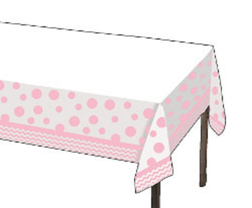 Club Pack of 12 Classic Baby Pink Chevron/Dot Disposable Plastic Banquet Party Tablecovers 9' - 31377977