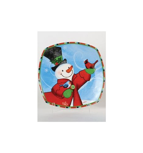 """12"""" Snow Drift Snowman & Red Cardinals Square Porcelain Christmas Dining Plate - 30852724"""