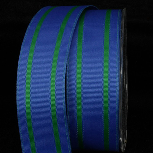 """Royal Blue and Green Striped Grosgrain Wired Craft Ribbon 1.5"""" x 27 Yards - 31391831"""