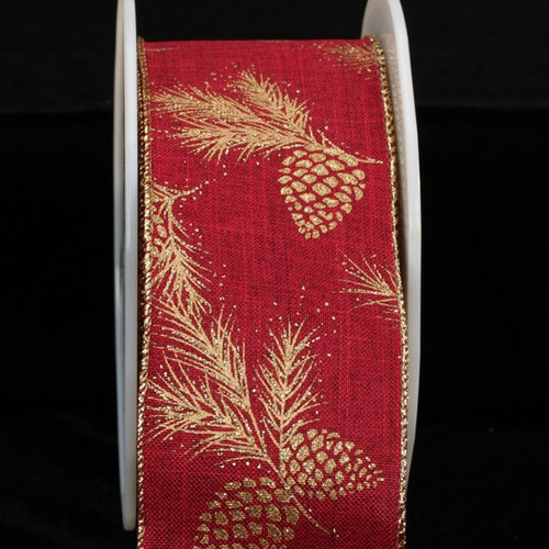 """Pine Cones Red and Gold Fine Burlap Wired Craft Ribbon 2.5"""" x 40 Yards - 31390871"""