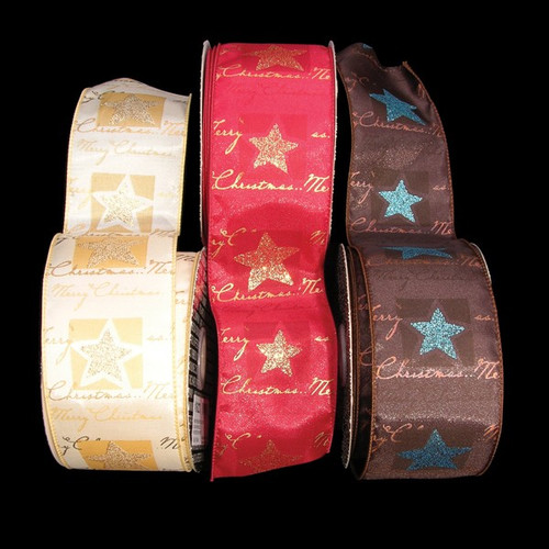 """Merry Christmas Brown and Blue Star Holiday Wired Craft Ribbon 2.5"""" x 20 Yards - 31389883"""
