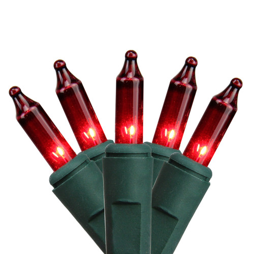 Set of 140 Red Everglow Chasing Mini Christmas Lights - Green Wire - 14057437