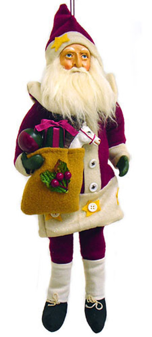 "Country Santa Claus With Gifts Cloth Christmas Ornament 14"" - 6541048"