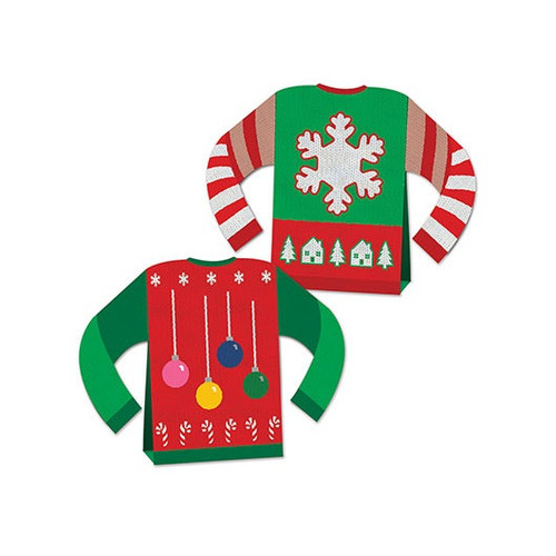 "Pack of 12 3-D Ugly Sweater Centerpiece Christmas Table Decorations 8"" - 32146776"