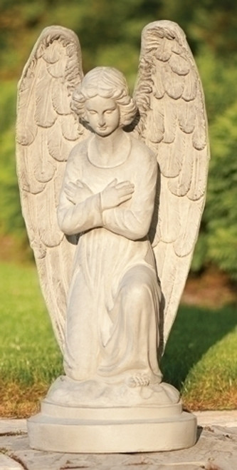 "30"" Serene Kneeling Angel with Arms Folded Inspirational Outdoor Garden Statue - 30929857"