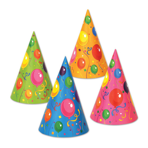 "Club Pack of 144 Multi-Colored Fluorescent Fun and Festive Party Cone Hat 6.5"" - 31558502"