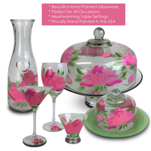 Set of 2 Pink Peony Floral Hand Painted Wine Drinking Stemware Glasses - 10.5 Ounces - 31571902