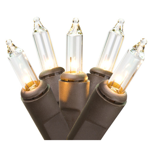 Set of 50 Clear Mini Christmas Lights - Brown Wire - 31460314