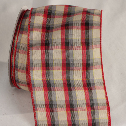 """Chic Ivory White, Red and Black Tartan Wired Ribbon 4"""" x 20 Yards - 31532340"""