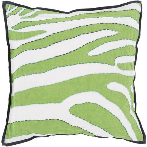 """22"""" Lime Green, Navy Blue and White Zebra Print Square Decorative Throw Pillow - Down Filler - 31080051"""