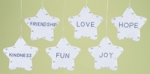 Club Pack of 12 Assorted Stars With Inspirational Words Christmas Ornaments - 6293597
