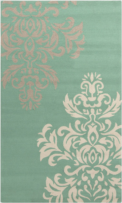 9' x 12' Dashing Damask Mint Green, White and Gray Hand Hooked Outdoor Area Throw Rug - 30992455