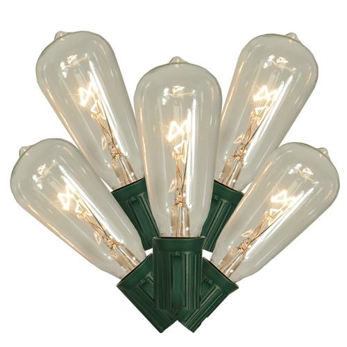 Set of 10 Transparent Clear ST40 Edison Style Christmas Lights - Green Wire - 31302128