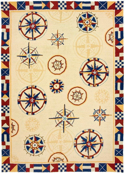 3' x 5' Nautical Sailing Compass Hand Hooked Area Throw Rug - 31011533