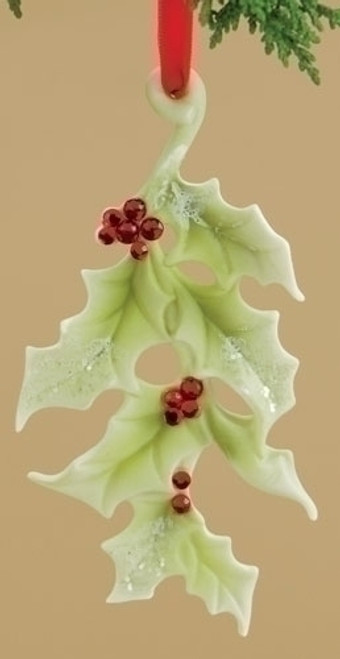 """4.5"""" Holiday Traditions Porcelain Holly Leaf Christmas Ornament - 15571812"""