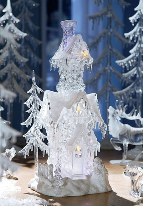 """Pack of 2 Icy Crystal Illuminated Decorative Christmas Snow Houses 17.5"""" - 31002157"""