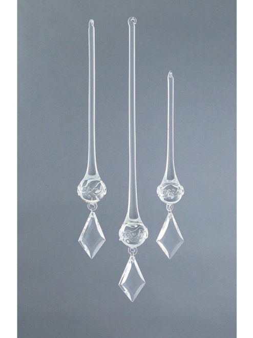 Set of 3 Rustic Fire Crystal Kite Drop Christmas Ornaments - 16191513