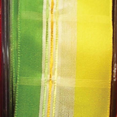 "Sheer Yellow, Green, and White Woven Taffeta Wired Craft Ribbon 1.5"" x 27 Yards - 31387138"