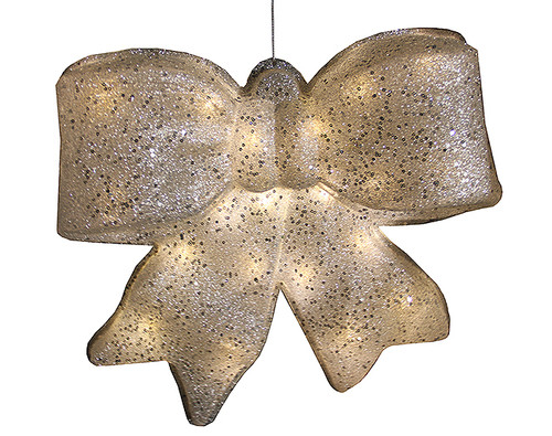 "15.5"" Silver Glittered Battery Operated Lighted LED Christmas Bow Decoration - 30655046"