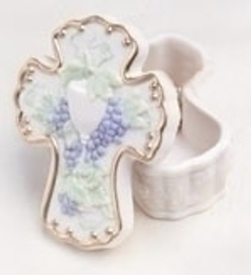 """3"""" Religious Communion Trinket Box With Chalice & Grapes #30124BX - 6398906"""