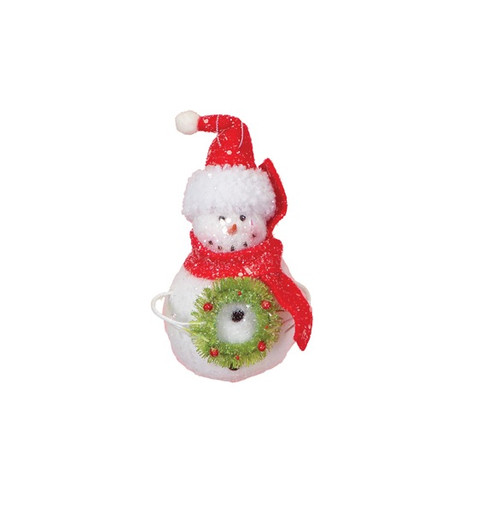 """7"""" Cupcake Heaven Snowman with Wreath and Red Scarf Christmas Ornament - 16190340"""