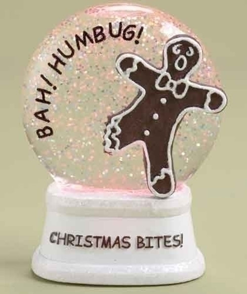 """4.5"""" LED Lighted Color Changing Christmas Bites! Gingerbread Glitterdome - 16160636"""