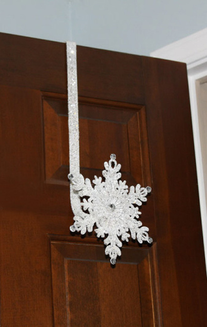 "17"" Sparkling Whites Glitter Jeweled Snowflake Over-the-Door Christmas Wreath Hanger - 31105529"