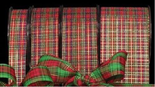 "Red, Green, and Gold Tartan Ribbon 2"" x 132 Yards - 31386789"