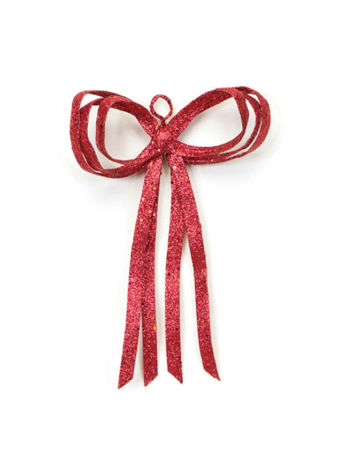 "12"" Christmas Brites Glitter Drenched Red Bow Decoration - 17103494"