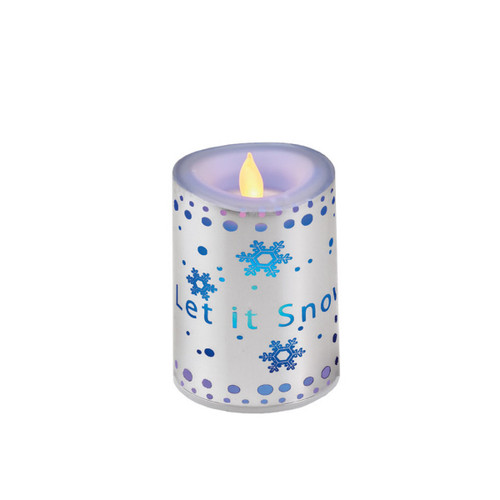 "4"" Let it Snow Flickering LED Color-Change Battery-Operated Flameless Candle - 16184326"