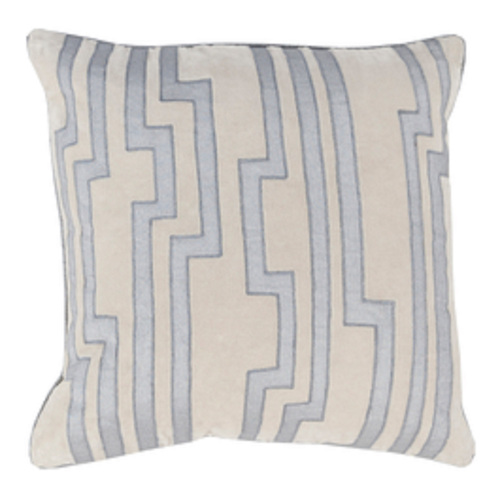 """18"""" Sand Gray and Light Blue Charming Key Patterned Decorative Throw Pillow - 31348309"""