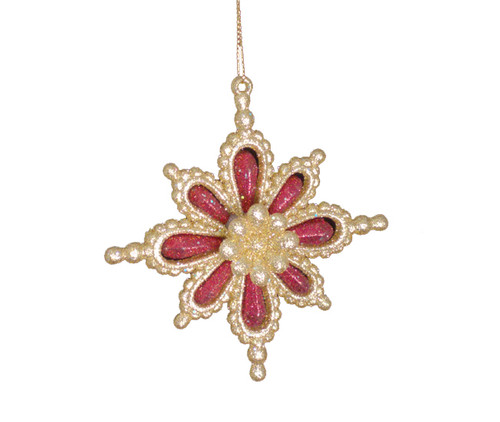 "4"" Gold and Red Dimensional Glitter Snowflake Christmas Ornament - 11133638"