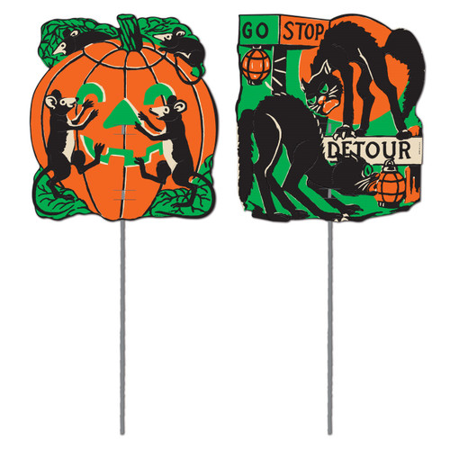 "Club Pack of 24 Scratch Cat, Pumpkin and Mouse Outdoor Garden Yard Sign Halloween Decorations 5.5"" - 31559937"