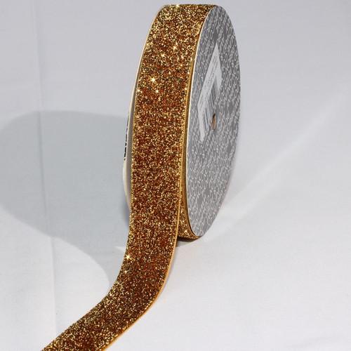 """Gold Glitter Woven Edge Velvet Craft Ribbon 1"""" x 11 Yards - 31387640"""