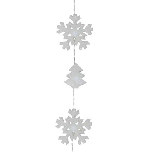 Set of 12 Battery Operated LED Snowflake and Tree Christmas Lights - Clear Wire - 31085491