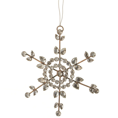 """6"""" Country Rustic Clear Jeweled Snowflake Christmas Ornament - 31099409"""
