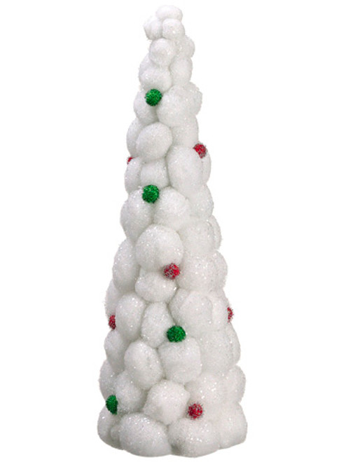 """24"""" Whimsical Snowball Glitter Table Top Christmas Topiary Tree - Unlit - 16179521"""