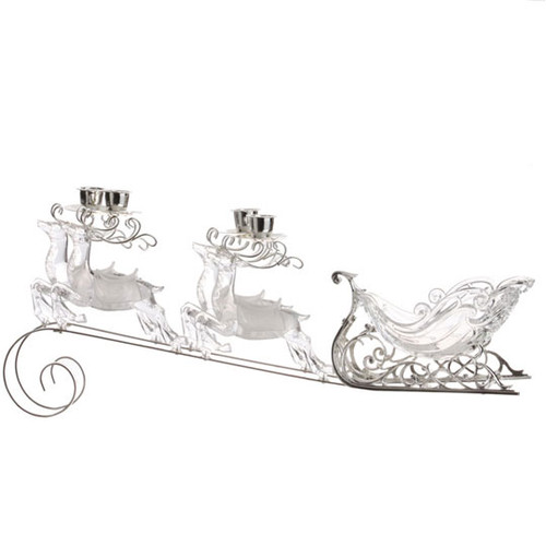 "20"" White And Clear Sleigh Candle Holder - 30790395"
