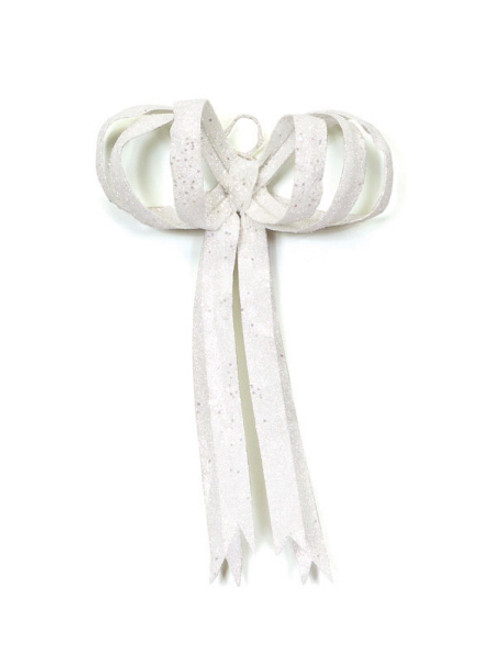 """16"""" Christmas Brites Glitter Drenched White Bow Decoration - 17103543"""