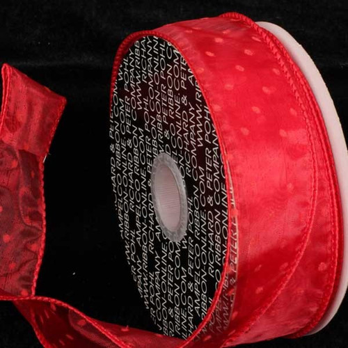 "Sheer Red Polka Dot Pattern Wired Craft Ribbon 2.5"" x 40 Yards - 31387376"