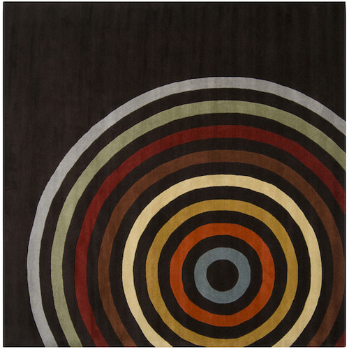 9.75' x 9.75' Eye of the Tiger Spiral Modern Multi-Colored Wool Area Throw Rug - 28461813