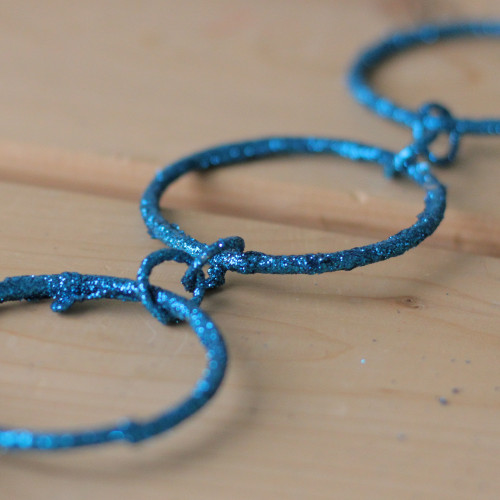 5' Regal Peacock Turquoise Blue Glitter Round Circle Chain Christmas Garland - 30657196