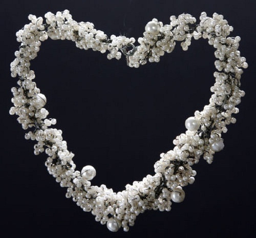 """Set of 4 White Pearls and Beads Medium Heart Christmas Ornaments 3"""" - 31010472"""