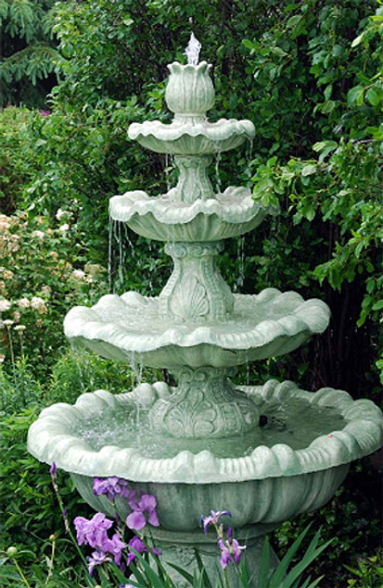 8' Calypso Cast Stone Concrete 4-Tier Outdoor Garden Water Fountain - 15733806