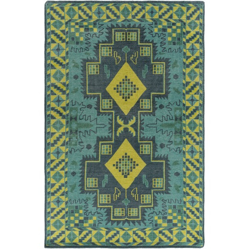 5.5' x 8.5' Turkish Symmetry Pear Green, Teal Green and Navy Area Throw Rug - 31499626