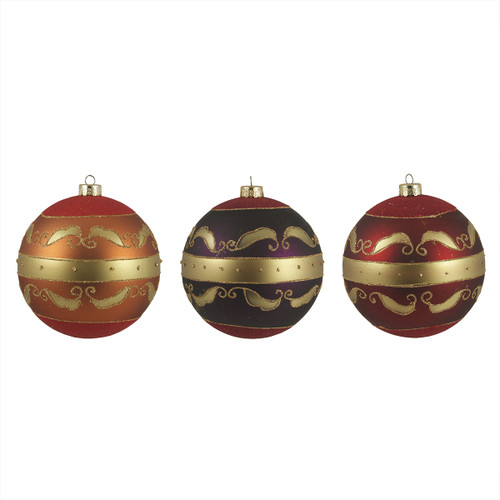 """3ct Earth Tone Scrollwork Shatterproof Christmas Ball Ornaments 4.75"""" (120mm) - 31093501"""